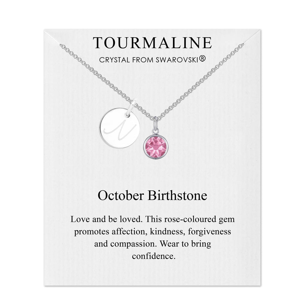 October Initial Birthstone Necklace Created with Swarovski® Crystals