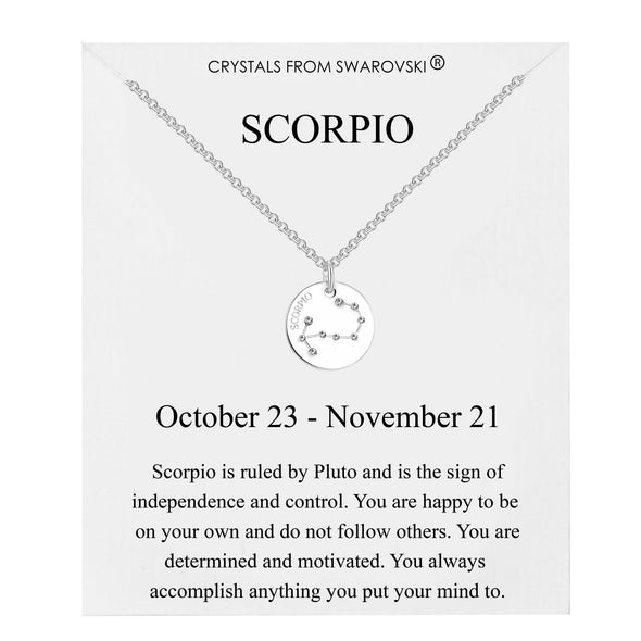 Scorpio Starsign Disc Necklace Created with Swarovski® Crystals