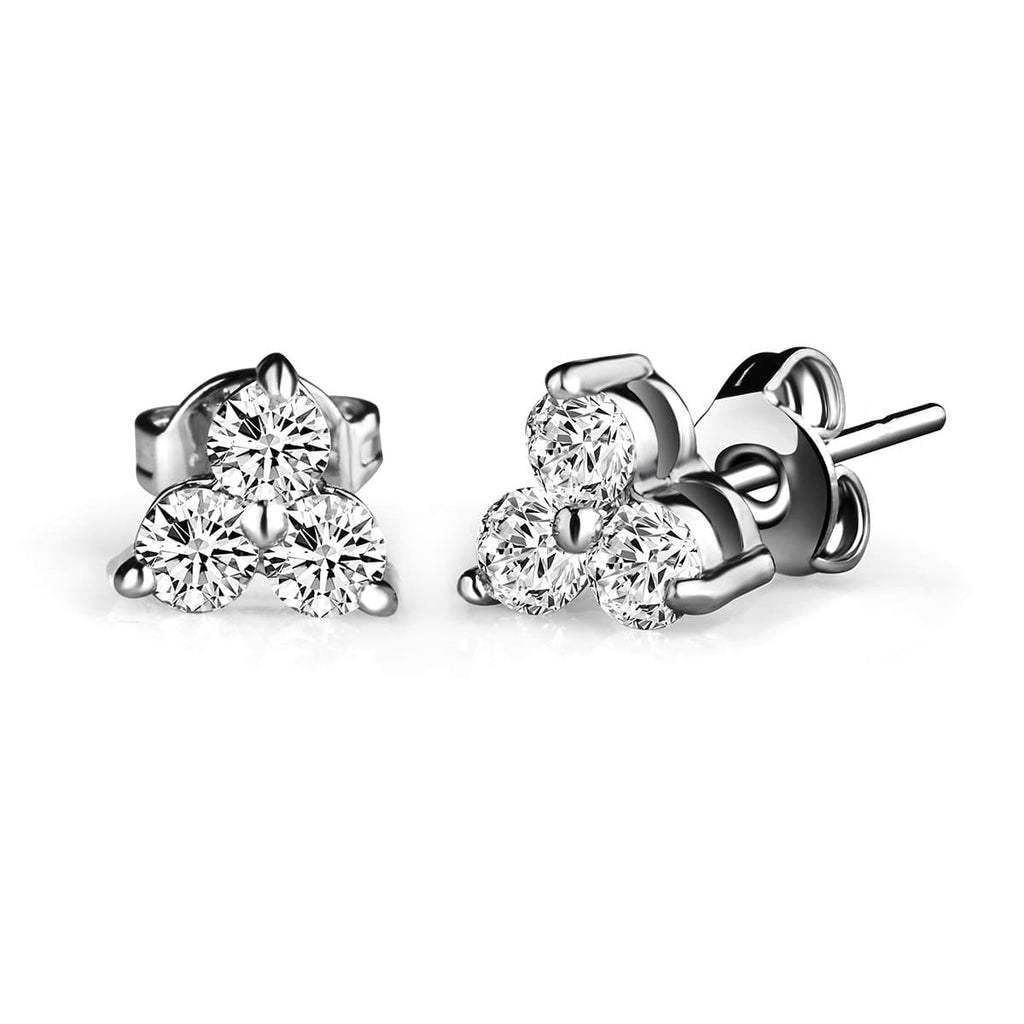 Silver Three Stone Earrings Created with Swarovski® Crystals