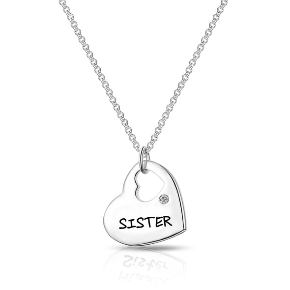 Sister - Heart Necklace Created with Swarovski Crystals