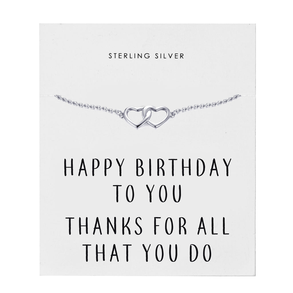 Sterling Silver Birthday Heart Bracelet