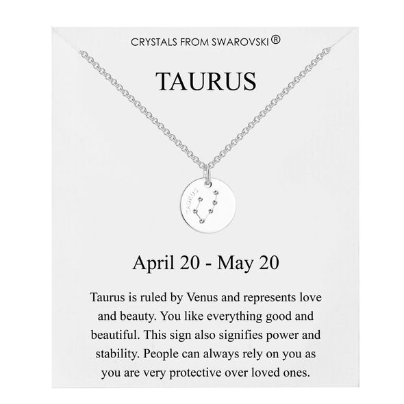 Taurus Starsign Disc Necklace Created with Swarovski® Crystals