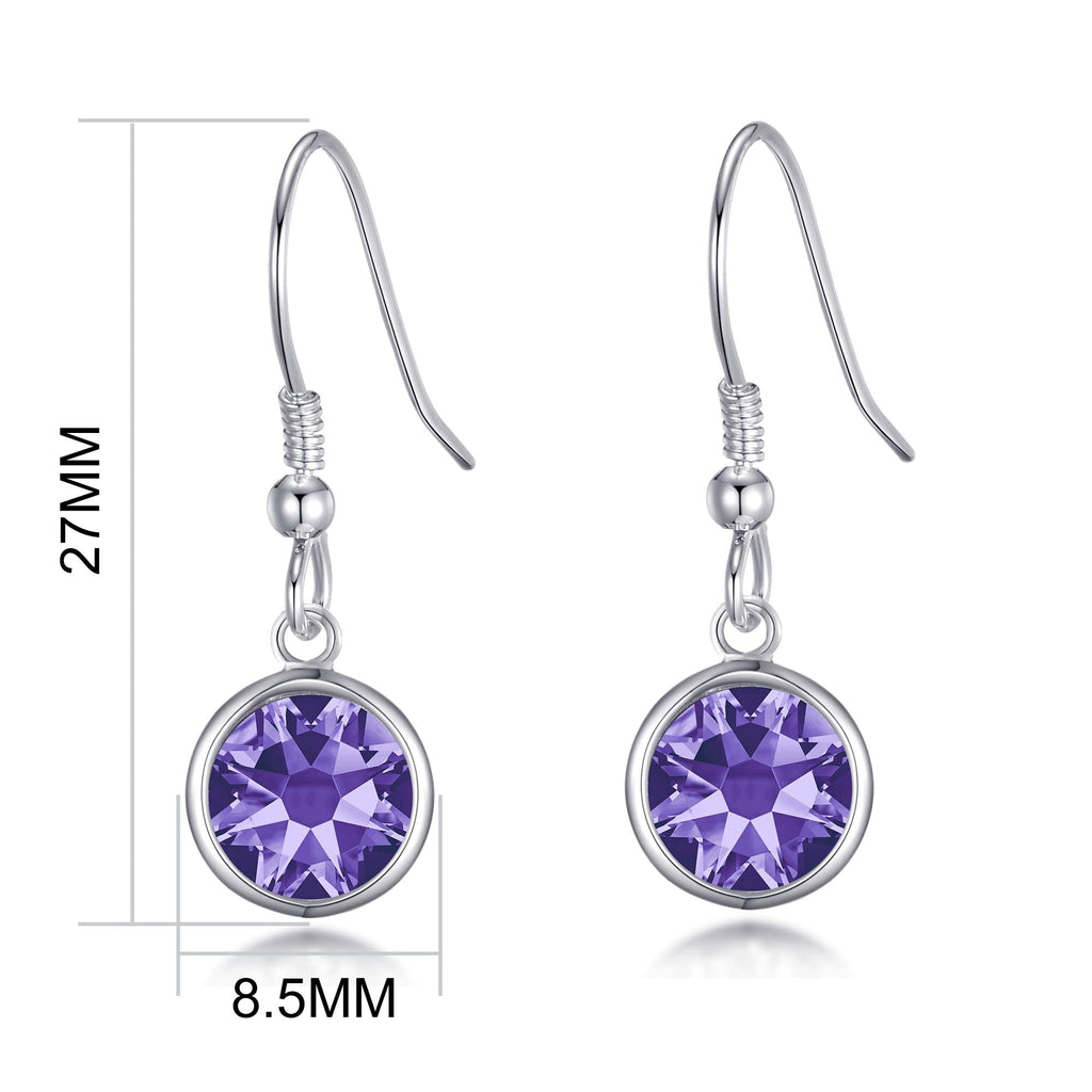 February Birthstone Drop Earrings Created with Amethyst Swarovski® Crystals