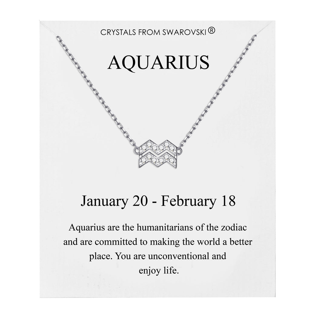 Aquarius Zodiac Necklace Created with Swarovski® Crystals