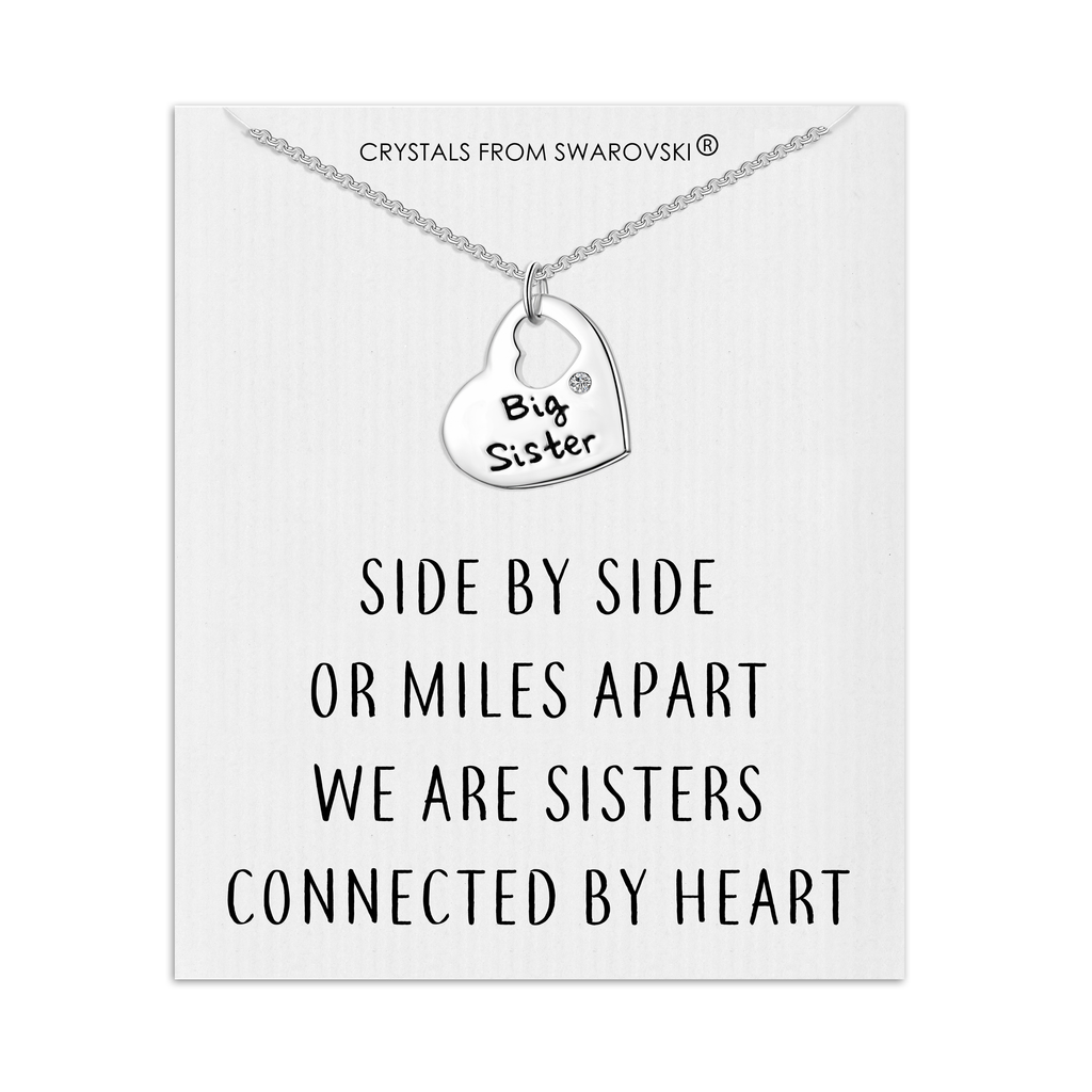 Big Sister Heart Necklace with Quote Card Created with Swarovski® Crystals