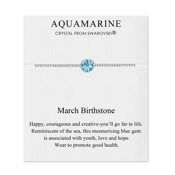 March (Aquamarine) Birthstone Bracelet Created with Swarovski® Crystals