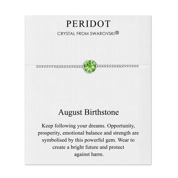 August (Peridot) Birthstone Bracelet Created with Swarovski® Crystals