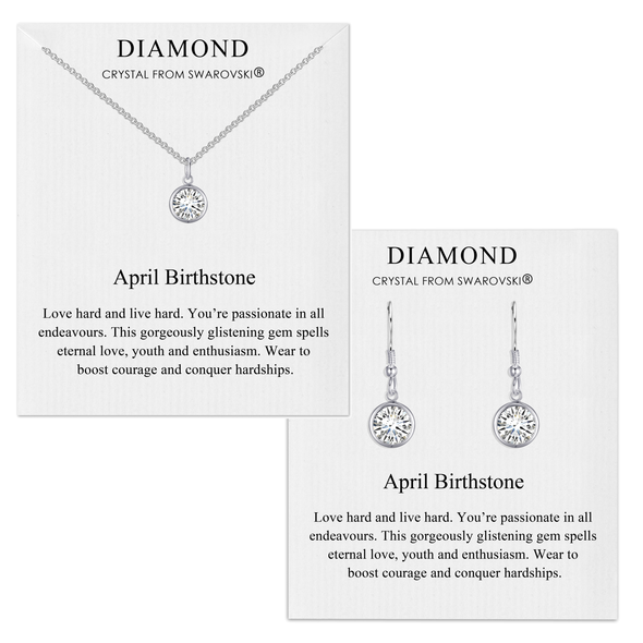 April (Diamond) Birthstone Necklace & Drop Earrings Set Created with Swarovski® Crystals