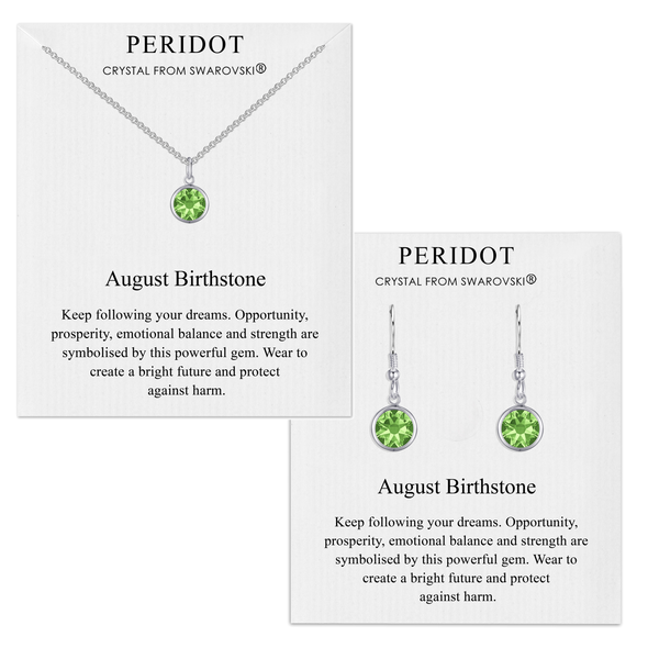 August (Peridot) Birthstone Necklace & Drop Earrings Set Created with Swarovski® Crystals