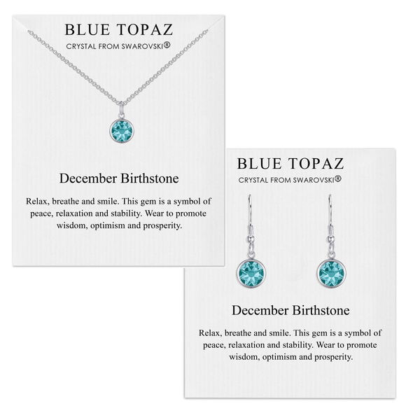 December (Blue Topaz) Birthstone Necklace & Drop Earrings Set Created with Swarovski® Crystals