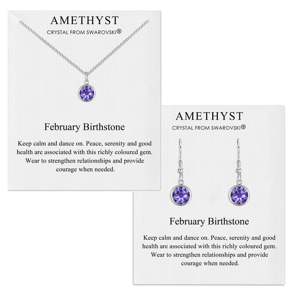 February (Amethyst) Birthstone Necklace & Drop Earrings Set Created with Swarovski® Crystals
