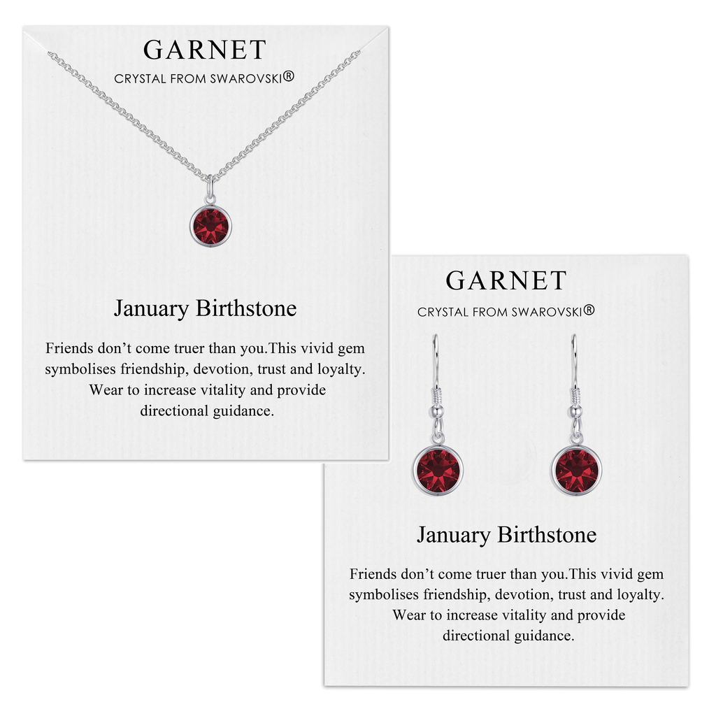 January (Garnet) Birthstone Necklace & Drop Earrings Set Created with Swarovski® Crystals