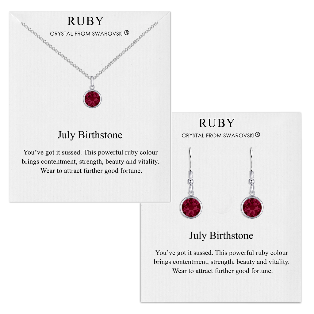 July (Ruby) Birthstone Necklace & Drop Earrings Set Created with Swarovski® Crystals