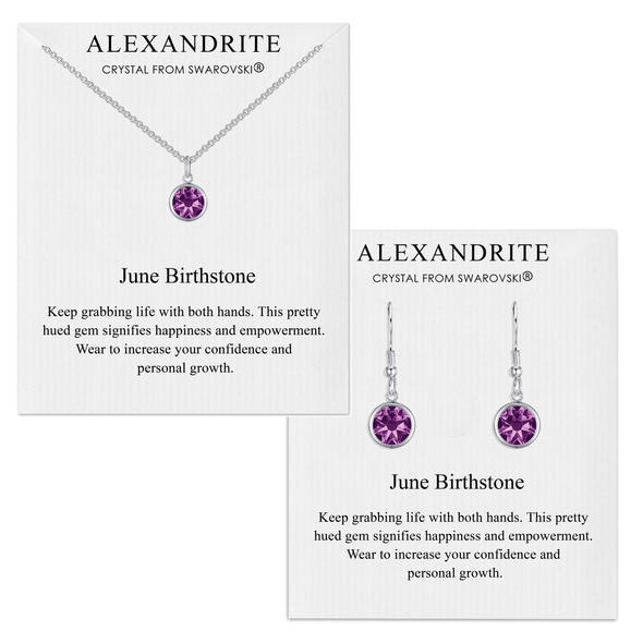June (Alexandrite) Birthstone Necklace & Drop Earrings Set Created with Swarovski® Crystals