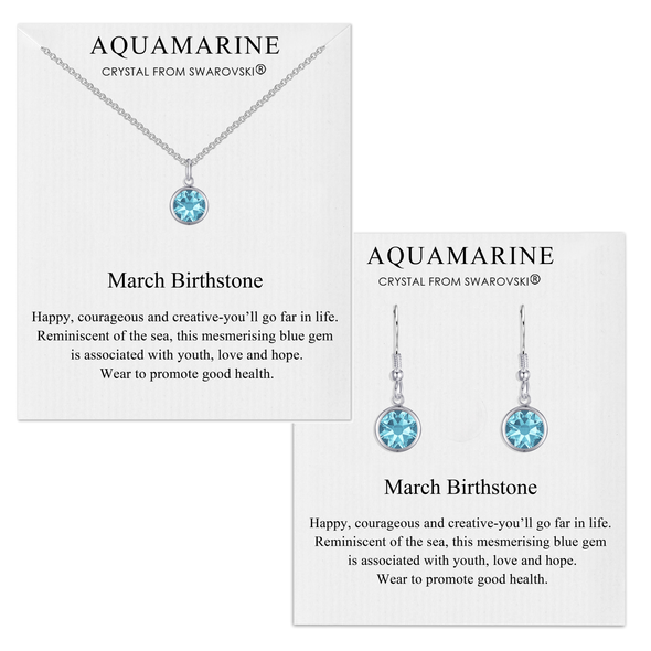 March (Aquamarine) Birthstone Necklace & Drop Earrings Set Created with Swarovski® Crystals