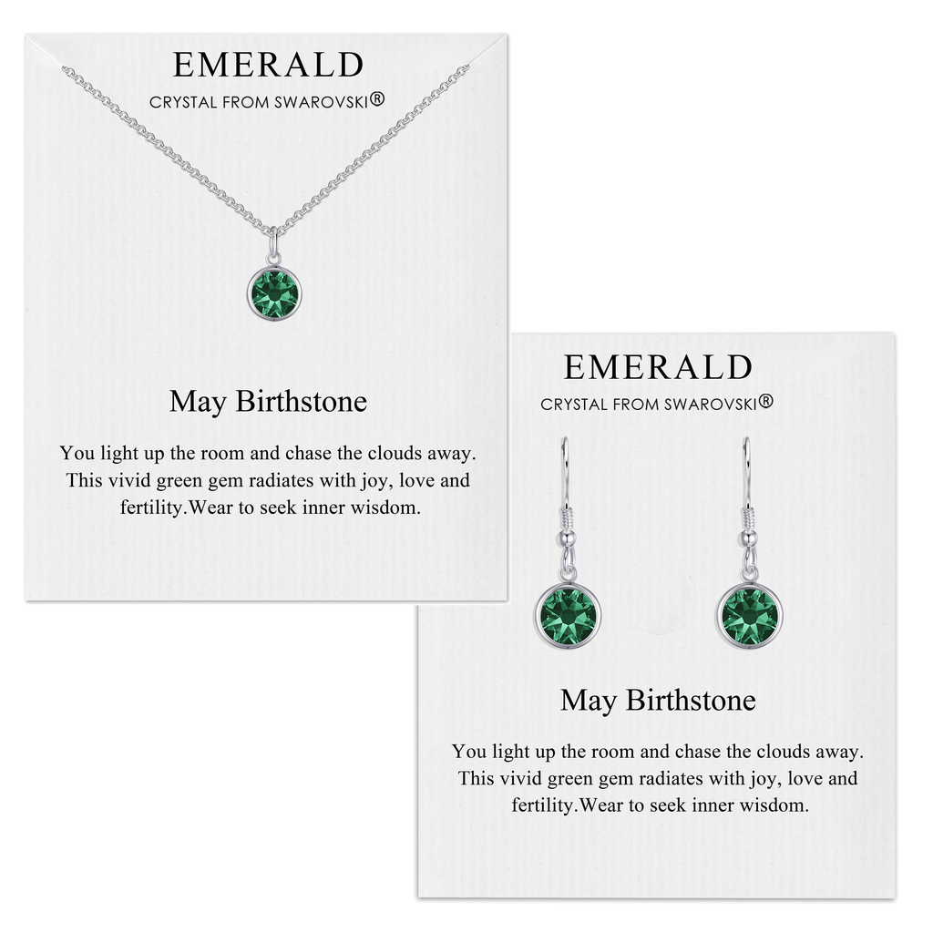 May (Emerald) Birthstone Necklace & Drop Earrings Set Created with Swarovski® Crystals