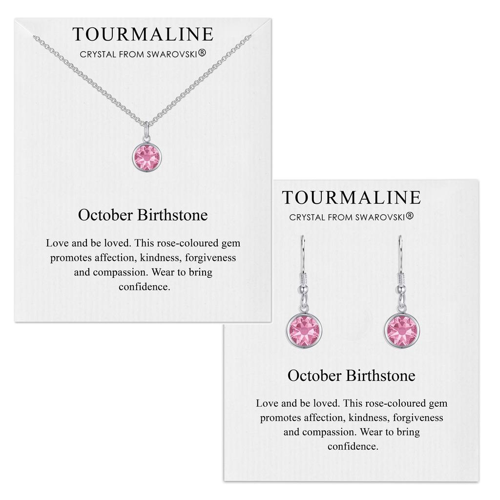 October (Tourmaline) Birthstone Necklace & Drop Earrings Set Created with Swarovski® Crystals