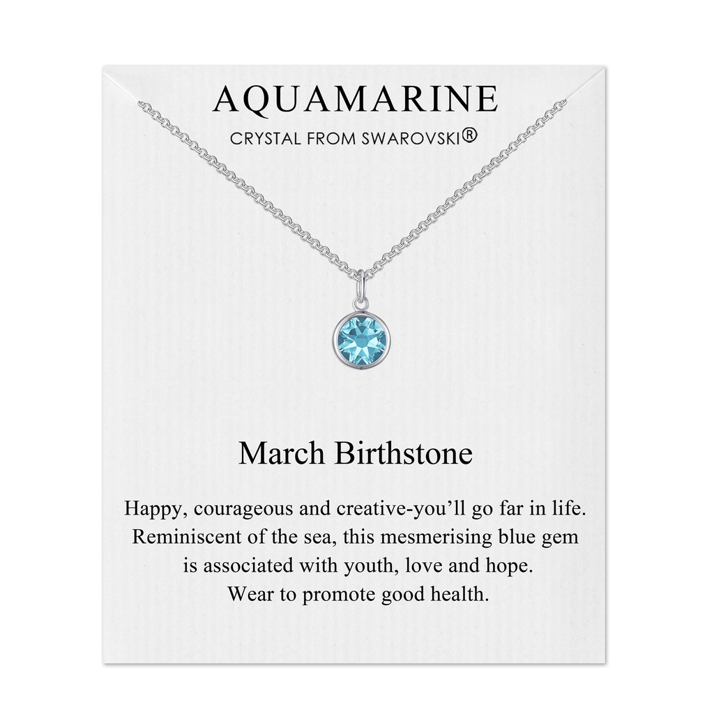 March (Aquamarine) Birthstone Necklace Created with Swarovski® Crystals
