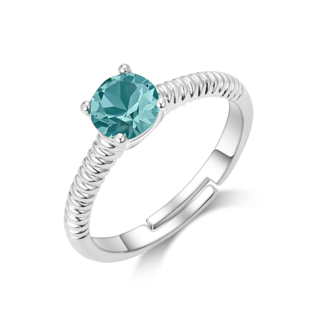 December (Blue Topaz) Birthstone Ring Created with Swarovski® Crystals