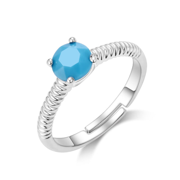 Turquoise (December) Adjustable Birthstone Ring Created with Swarovski® Crystals