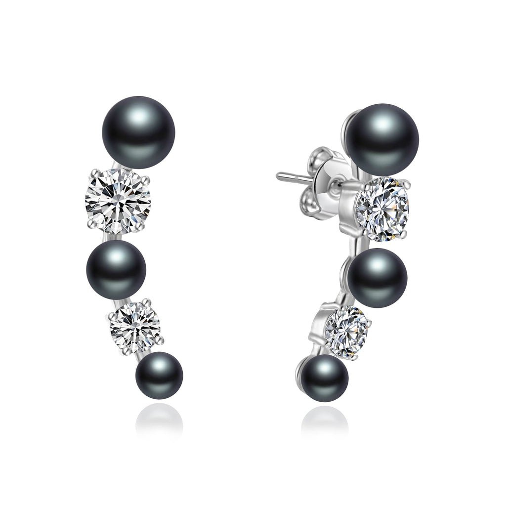 Black Pearl Climber Earrings Created with Swarovski® Crystals
