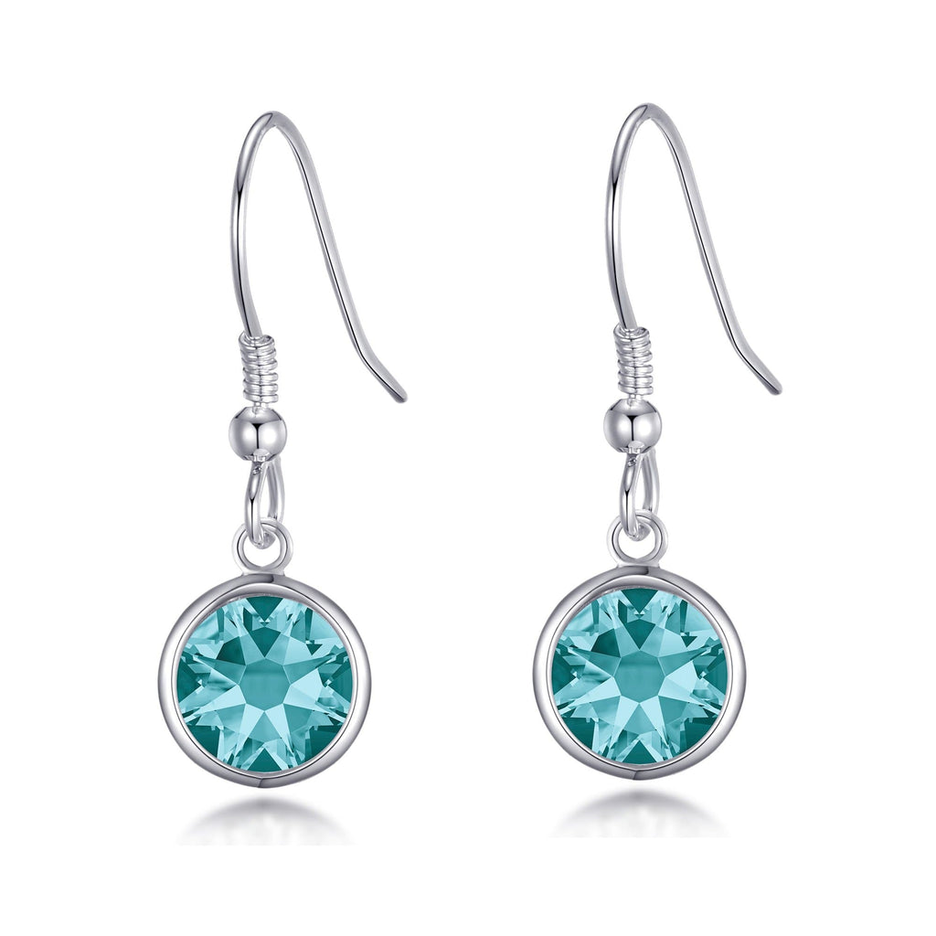 December Birthstone Drop Earrings Created with Blue Topaz Swarovski® Crystals