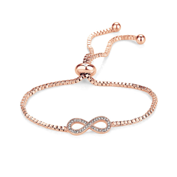 Rose Gold Infinity Friendship Bracelet Created with Swarovski Crystals
