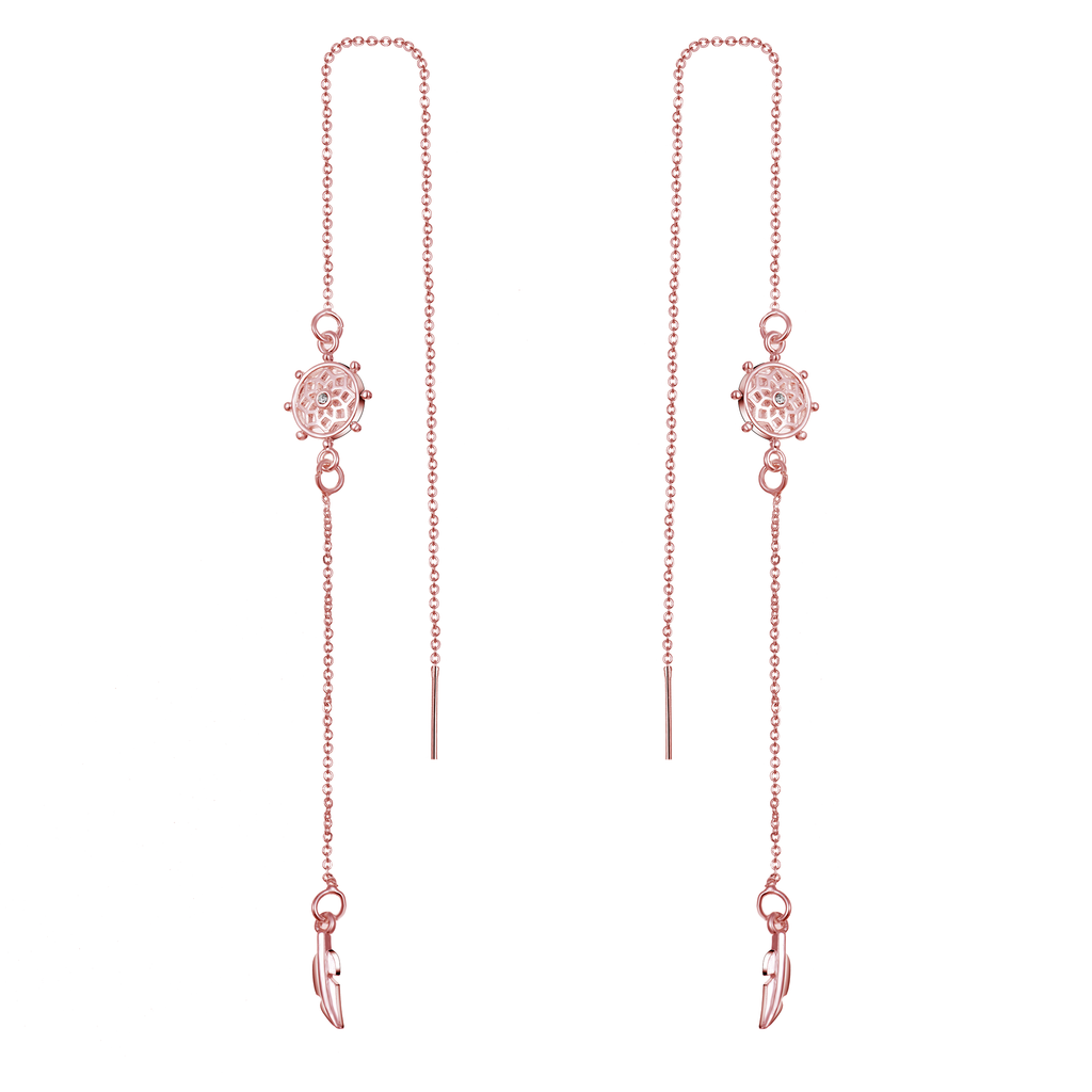 Rose Gold Chakra Thread Earrings Created with Swarovski® Crystals
