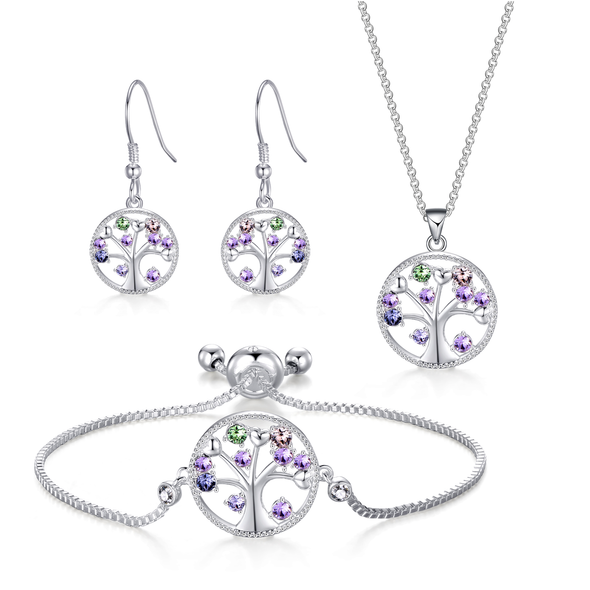 Silver Chakra Tree of Life Set Created with Swarovski® Crystals