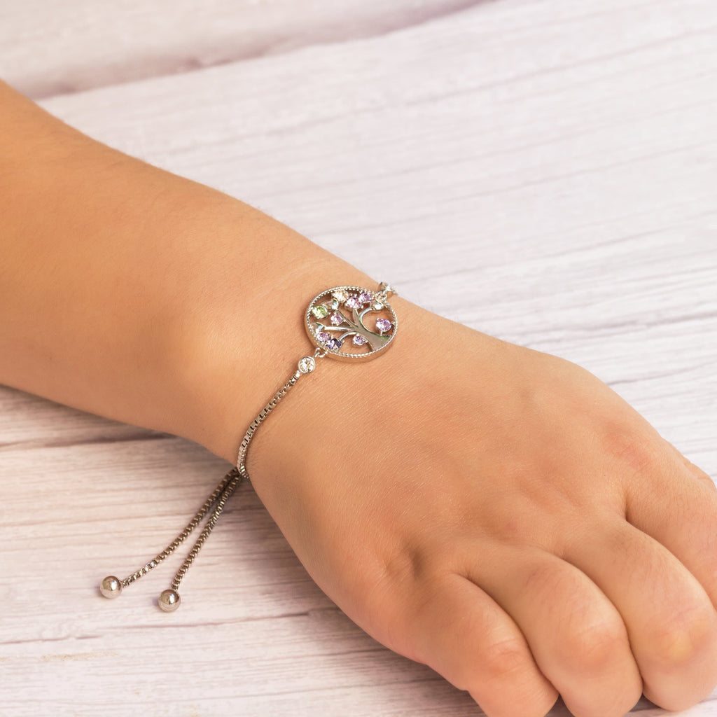 Silver Chakra Tree of Life Bracelet Created with Swarovski® Crystals
