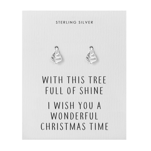 Sterling Silver Christmas Tree Quote Earrings