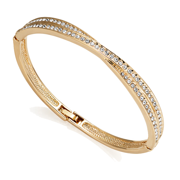 Gold Crossover Bangle Created with Swarovski Crystals