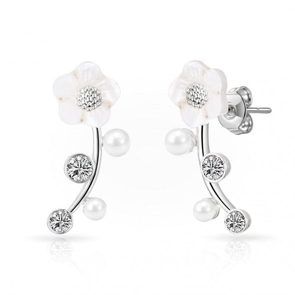 Silver Daisy Climber Earrings Created with Swarovski Crystals