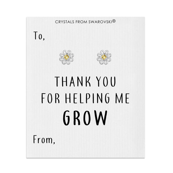 Thank You For Helping Me Grow Daisy Earrings Created with Swarovski® Crystals