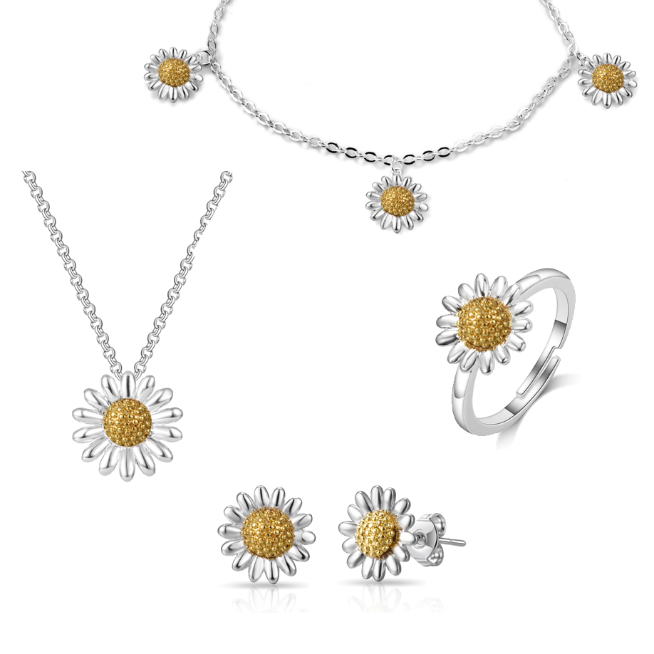 4pc Daisy Bracelet Set