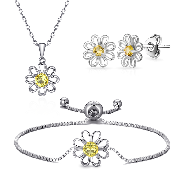 3pc Daisy Bracelet Set Created with Swarovski® Crystals
