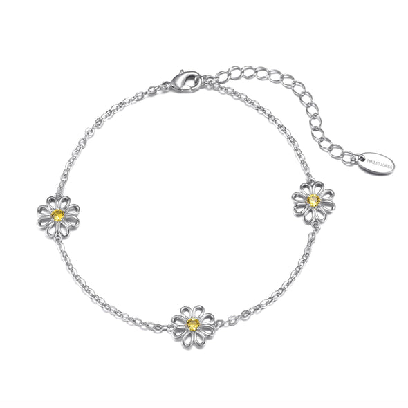 Crystal Daisy Anklet Created with Swarovski® Crystals