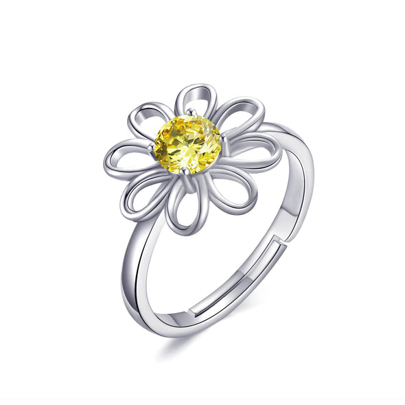 Adjustable Crystal Daisy Ring Created with Swarovski® Crystals