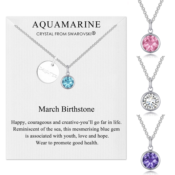 Daughter Initial Birthstone Necklace Created with Swarovski® Crystals