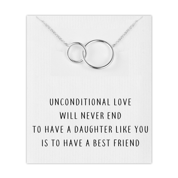 Silver Link Daughter Necklace with Quote Card