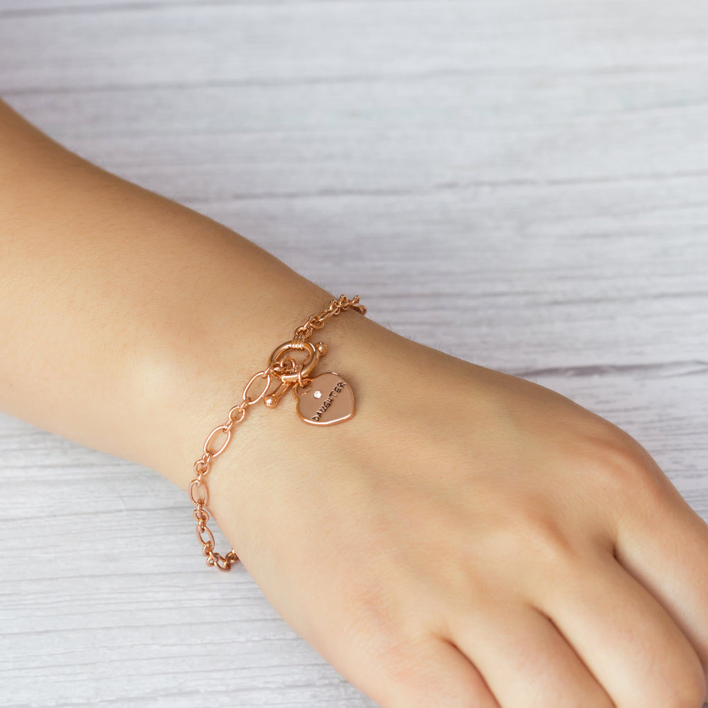 Rose Gold Daughter Charm Bracelet Created with Swarovski® Crystals