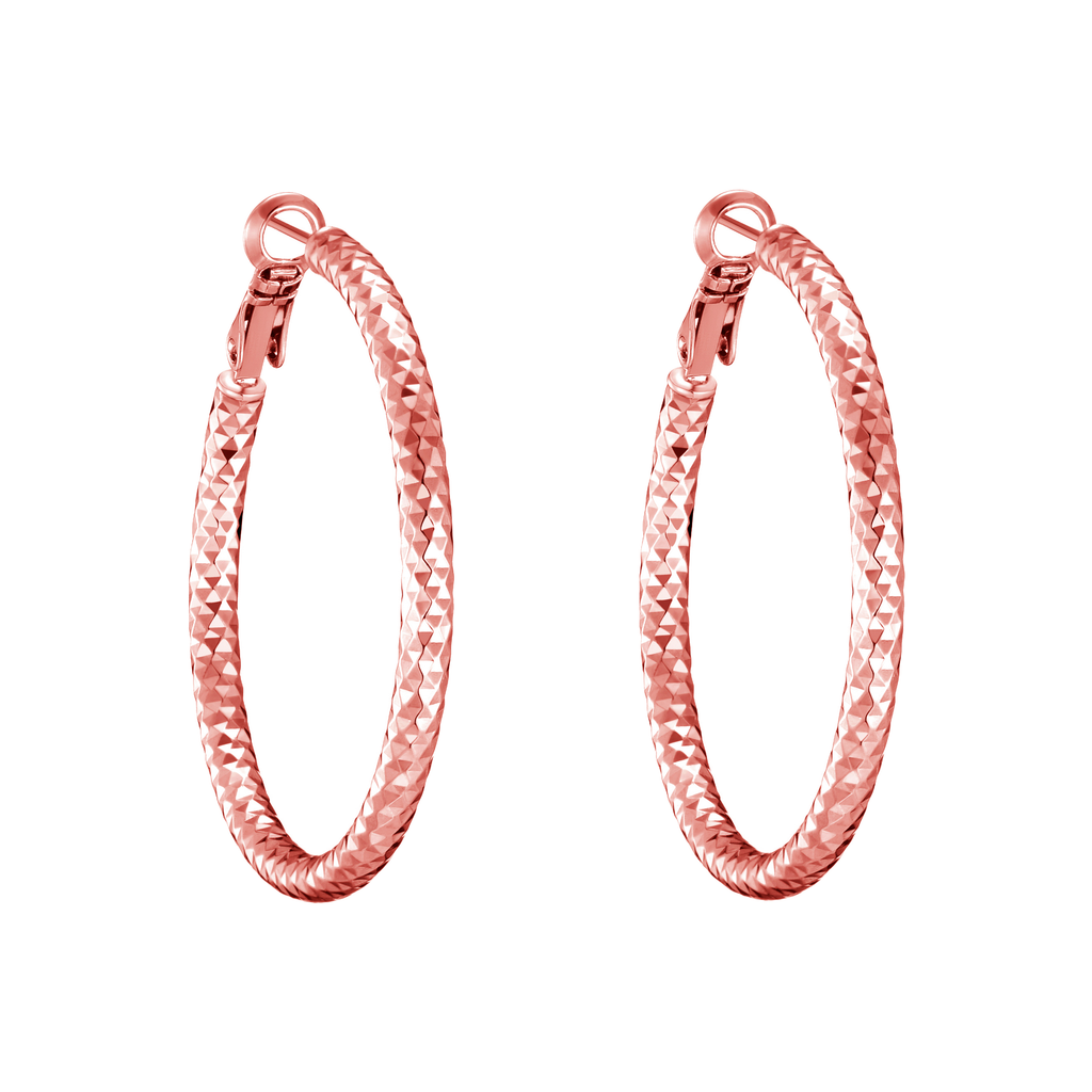 Rose Gold 40mm Diamond Cut Hoop Earrings