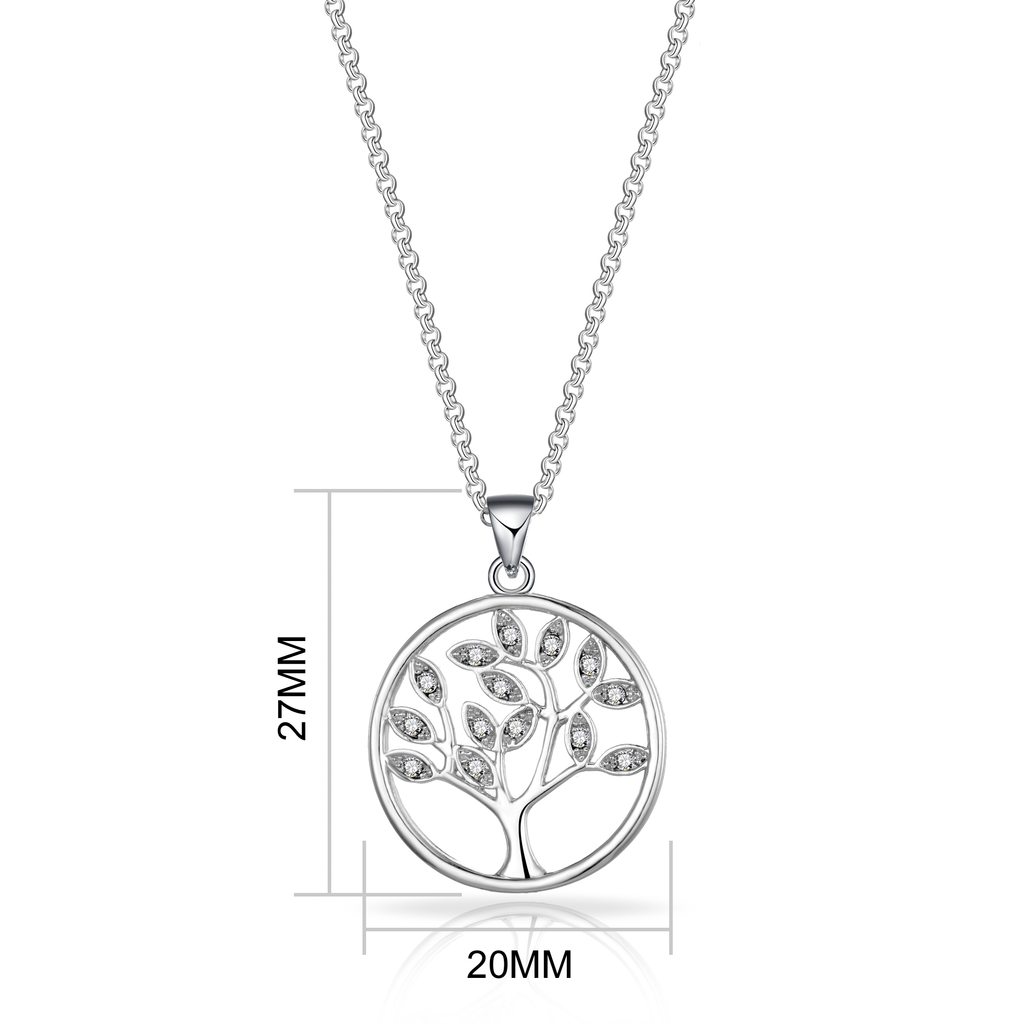 Silver Tree of Life Necklace Created with Swarovski Crystals