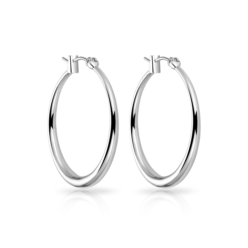 Silver-Tone 30mm Hoop Earrings