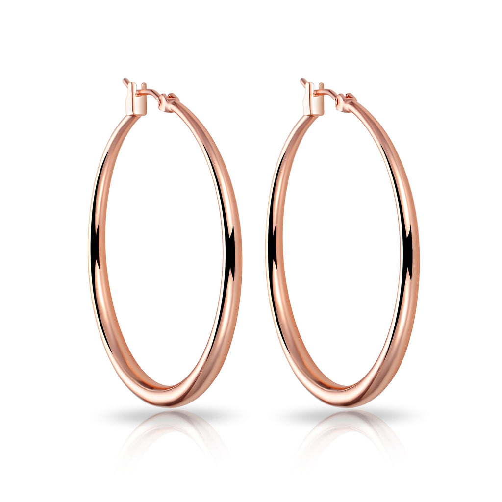 Rose Gold-Tone Plated 40mm Hoop Earrings