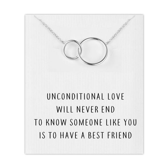 Silver Link Friendship Necklace with Quote Card