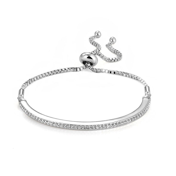 Silver Friendship Bracelet Created with Swarovski Crystals