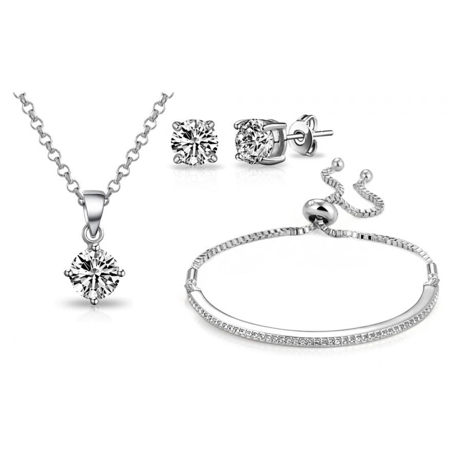 Silver Friendship Set Created with Swarovski Crystals