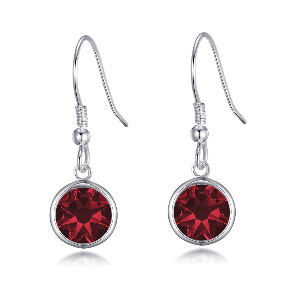 January Birthstone Drop Earrings Created with Garnet Swarovski® Crystals