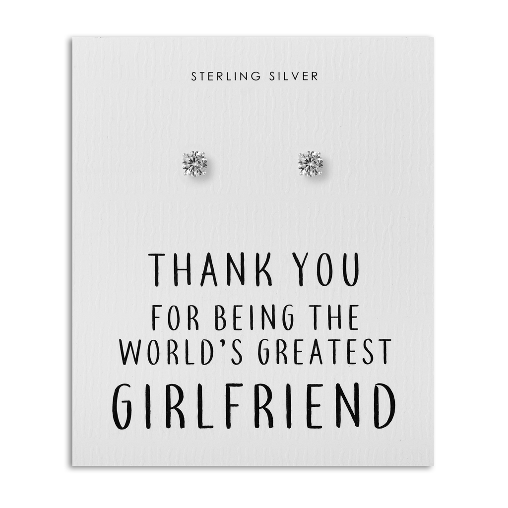 Sterling Silver World's Greatest Girlfriend Crystal Earrings